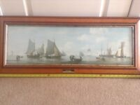 Sea smack picture in yew & glass frame 33 inch long