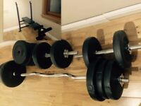 SOLD !!! Gym Weights & Bench