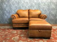 STUNNING JOHN LEWIS CHESTERFIELD STUDDED REAL TAN ANILINE LEATHER 2 SEATER SOFA WITH FOOTSTOOL