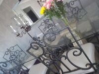 Dining Table & 6 Chairs - Glass - Gothic Style - Wright Iron