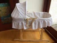 Baby's Crib with Wicker basket with handles