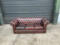 Superb brown leather chesterfield 3 seater sofa UK delivery
