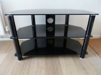 John Lewis, Black Glass TV Stand. Suitable for sets up to 32""