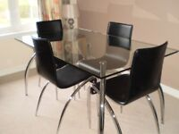John Lewis Alamo Glass Dining Table and Six Matching Chairs