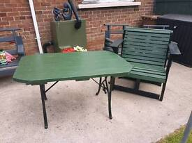 Newly Painted Garden Table With Cast Iron Legs.