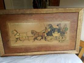 Vintage Horse & Carriage Painting