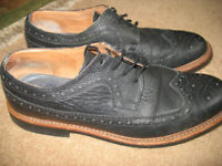 Hardy Amies black lace-up men's Brogue leather shoes, for rain Goodyear welted sole, size 10.5