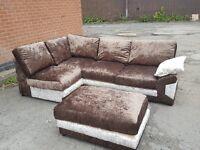 Cute brown&mink crushed velvet corner sofa &footstol.or larger corner.1 month old.can deliver