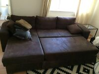 Brown 3-Seater L-shaped Leather Sofa with under-bed storage space