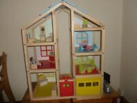 Large Wooden Dolls House in good condition
