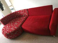 Beautiful DFS red fabric sofa.