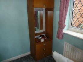 FREE. 2 matching wardrobe units. One, one hanging,one dressing table with drawers etc.
