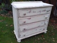 SHABBY CHIC WOODEN PINE CHEST OF DRAWERS, VINTAGE LOOKING,VERY SOLID STURDY,3FT H ,4FT W, 2FT D