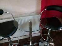 Glass top bar table & 2 stools