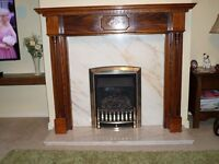 Fire Surround in oak marble hearth and back
