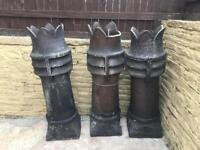 Victorian Crown Chimney Pots x3