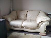2 seater cream sofa and armchair