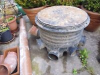 """Plastic Manhole with 20"""" diameter castion cover, 1 outlet and 5 inlets"""