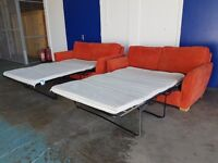 ORANGE FABRIC 2 SOFABEDS SOFA BEDS 3 FOLD SOFABED SOFA BED MADE BY SOM'TOILE DELIVERY AVAILABLE