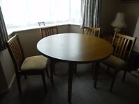 Dining Room Table, drop leaf and four chairs
