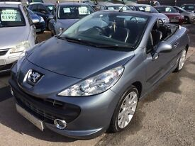 2007/07 PEUGEOT 207CC 1.6 16V GT 2 DOOR CONVERTIBLE, GREY,FULL LEATHER INTERIOR,LOOKS & DRIVES WELL