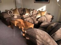 Corner Sofa Suite with Armchair and Cushions