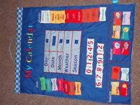 Children's Fabric Hanging Wall Calendar