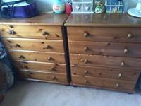 Wooden chest of drawers £35 each