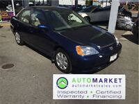 2002 Honda Civic LX-G SE, LOW KM, WARRANTY