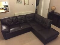 Large dark brown faux leather corner sofa in immaculate condition