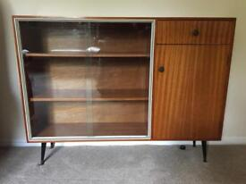 1960's Wooden Bookcase / Display Cabinet