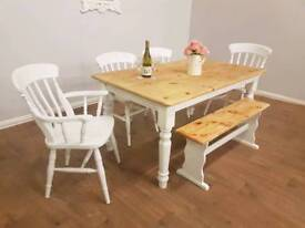 Shabby chic table chairs and a bench