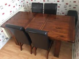 Debenhams Solid Oak Extending Table and 4 Quality Leather Chairs