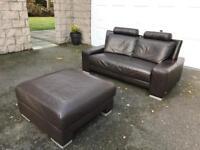 Italian Brown Leather Sofa & Footstool - Aboyne