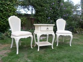 2 WILLIS & GAMBIER ivory bedroom chairs & bedside cabinet needs painting cleaning