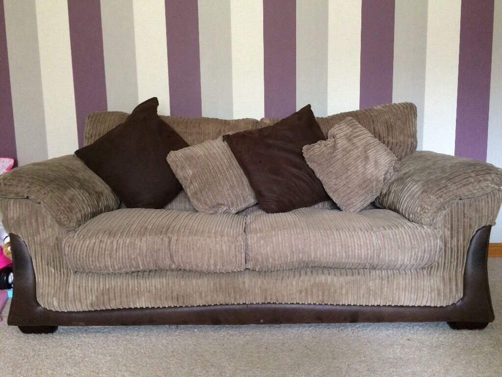 2 X Ex Dfs Brown Material Sofas And Storage Footstool