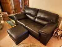 Black Leather Sofa and poof. Welsh Style wooden dresser for sale as well separate