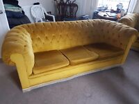 Fabric chester field sofa 2 x 3 seater