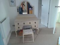Beautiful french style old victorian dresser, mirror & stool