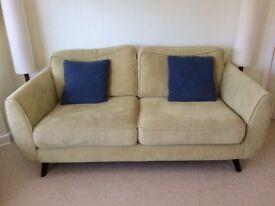 DFS Aurora Plaza Green sofa and armchair dark wood feet retro 50s Scandi style