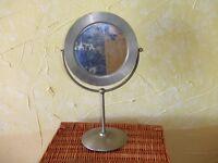 Brushed stainless steel bathroom vanity beauty mirror Habitat