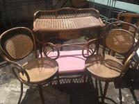 Vintage Rattan wicker table and chairs