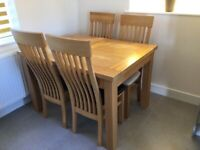 Solid Ash Extendable Dining Room Table and Chairs