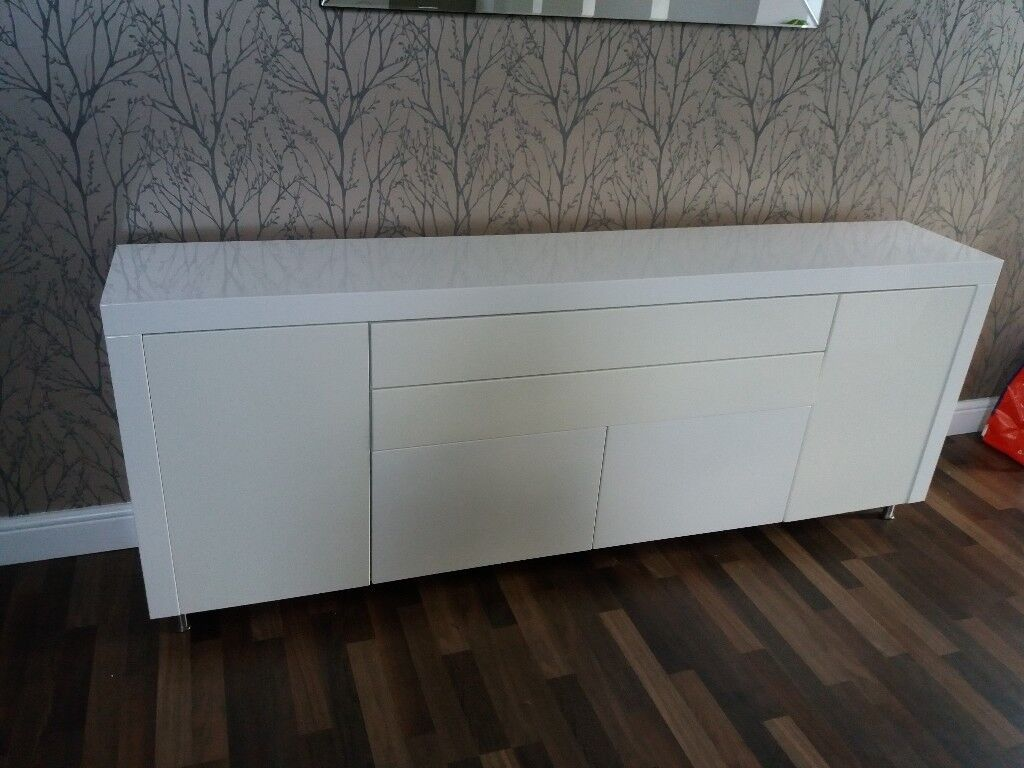 Glossy White Sideboard Dresser Cupboard Hallway Or Dining Room Storage