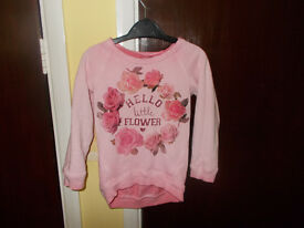 GIRLS HELLO LITTLE FLOWER PINK JUMPER 1 1/2 2 YEARS