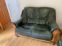 2x Two Seater Leather Sofa