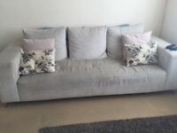 Beige stone natural 3 seater sofa and snuggle chair