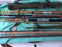 Vintage fishing rods reel and keep net