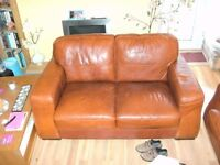 2 x Italian Real Leather 2 Seater Setees