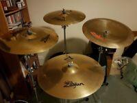 Zildjian 'A' Custom crash / ride / china / hi-hat / splash cymbals and Gibraltar cymbal stands